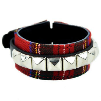 Red Plaid w/ Silver Pyramid Studs Wristband Rockabilly Bracelet Metal