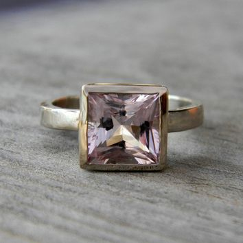 Ready To Ship Size 6.5 14k Palladium White Gold and Princess Morganite Solitaire Ring