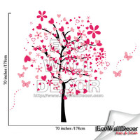 PEEL and STICK Kids Nursery Removable Vinyl Wall Sticker Mural Decal Art - Pink Hearts Butterflies Tree