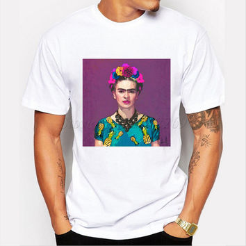 Asian Size hot sale short sleeve casual tops Frida Kahlo retro printed men t shirt fashion customized funny tee shirts