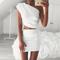 Elegant ladies white bodycon dress one shoulder solid sexy 2 piece chic short dress