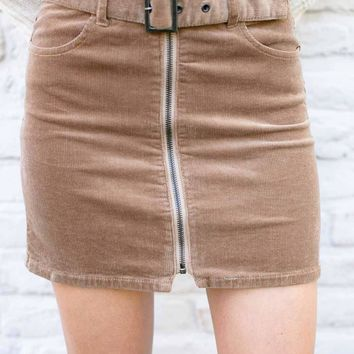 Basically Belted Zip Up Mini Skirt in Camel Corduroy