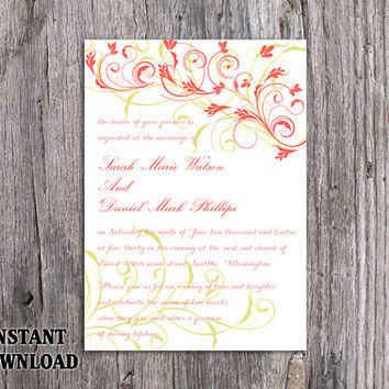 DIY Wedding Invitation Template Editable Word File Instant Download Printable Invitation Elegant Coral Invitations Green Floral Invitation