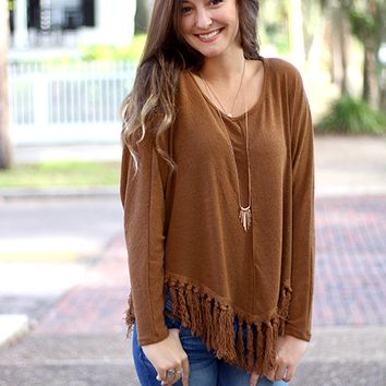Fringe With Benefits Top - Camel