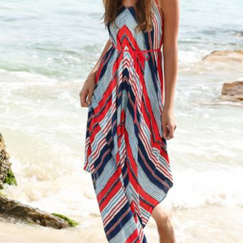 Stripe Print  Beach Maxi Dress  B0015260