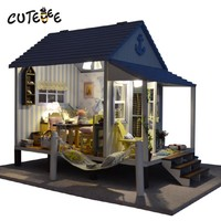 Wooden Doll House Caribbean Beach Cottage Music Box w/Light and Furniture Miniature DIY Kit