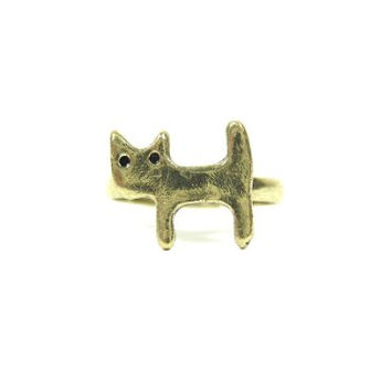 Tiny Cat Ring Size 6.5 Adjustable Dainty Kitten Charm RG11 Gold Tone Simple Kitty