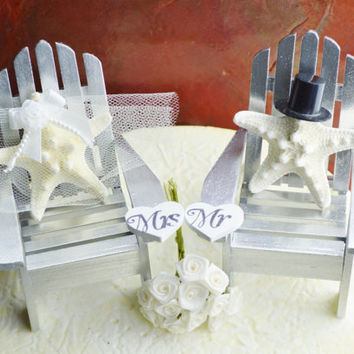 Wedding Cake Topper ~ Silver ~ Miniature Adirondack Chairs  ~ Knobby Starfish Bride/Groom ~ Beach Wedding Decor ~ Cake Topper