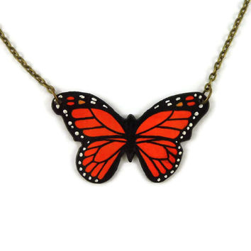 Small orange and black monarch butterfly necklace, handmade monarch butterfly necklace, plastic butterfly fancy necklace (recycled CD)