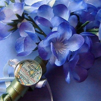 Map Charm Bridal Bouquet  Sterling Silver  by sherrytruitt on Etsy