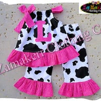Custom Boutique Clothing Baby Girl Clothes Cow Hot Pink Top Gift Ruffle Pant Outfit Set 3 6 9 12 18 24 month size 2t 2 3t 3 4t 4 5t 5 6 7 8