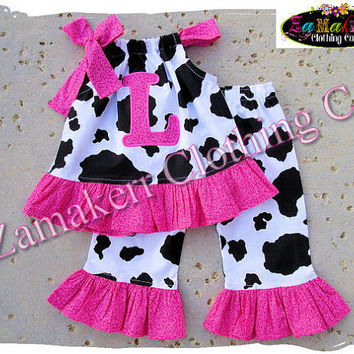 e8e2e49967b54 Custom Boutique Clothing Baby Girl Clothes Cow Hot Pink Top Gift Ruffle  Pant Outfit Se