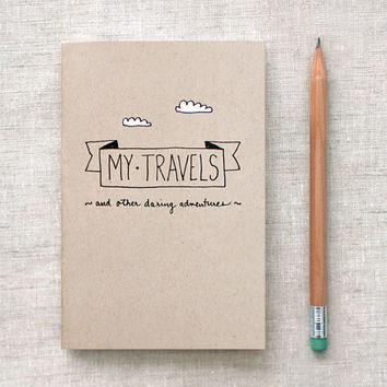 Eco Friendly Travel Journal - Handcrafted, Pocket Size by HappyDappyBits
