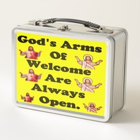 God's Arms Of Welcome Are Always Open. Metal Lunch Box