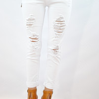 (ank) Distressed white stretchy boyfriend jeans
