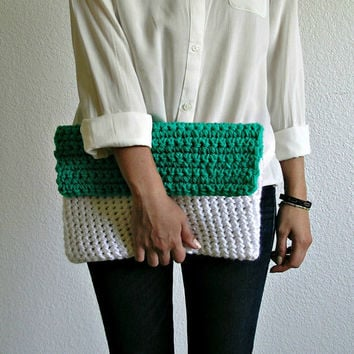 The Colmar Clutch Light Jade & White