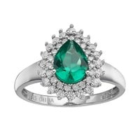 Simulated Emerald & Cubic Zirconia Sterling Silver Teardrop Frame Ring (Green)