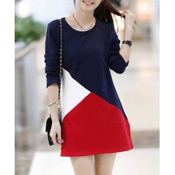 Sweet Round Collar Color Block Flocking Thickened Long Sleeves Slimming Dress For Women