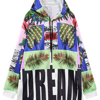 Multicolor Pineapple Tree And Letter Print Hoodie