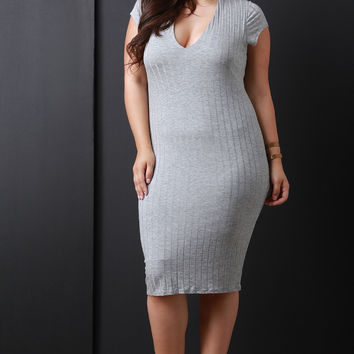 Heathered Ribbed Knit Bodycon Dress