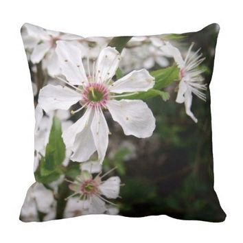 White Blackthorn Blossom Throw Pillow