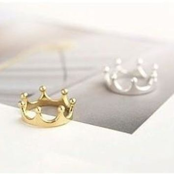 R025 Crown Rings Fashion Jewelry For Women Gold Silver Plated anillos For Wedding Engagement