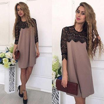 Summer Fashion Lace Stitching Straight Dress 2018 Women Fall Casual Loose Patchwork Three Quarter Sleeves O-neck Mini Dresses