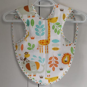 Baby Bib, Gender Neutral Bib, Stay in Place, Stay Clean, Bib Apron, Unique Baby Gift, Baby Shower Gift, Baby, Jungle Animals, Zoo Animals