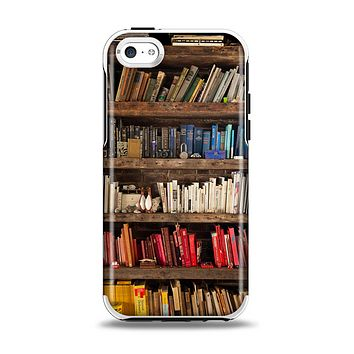 The Vintage Bookcase V1 Apple iPhone 5c Otterbox Symmetry Case Skin Set