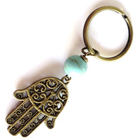 Hamsa Keychain Turquoise Bag Charm Keyring Protection Yoga Accessories Party Favor Spiritual Unique Birthday Gift Under 20 Item A24