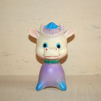 1975 70s Vintage Rubber Toy Rubber Cow Squeak Toy Squeaker Toy Cute Cow Squeaky Cow Retro Baby Nursery Decor
