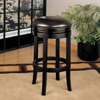 Backless Swivel Barstool In Brown Bonded Leather 26""