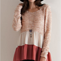 Autumn Scape Babydoll Ruffle Tunic Color Block Top- Pink Combo