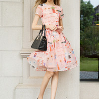 Pink Printed Short Sleeve Shirtwaist A-Line Midi Skater Dress