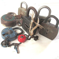 Collection of antique padlocks. A lot of old rusty metal locks. Rustic industrial decor. Gift for men. Man cave decor. Eight padlocks.