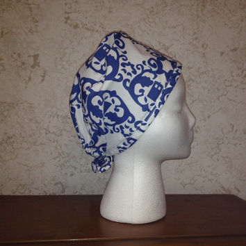 Doctor Who Tardis Damask Surgical Scrub Cap Chemo Hat