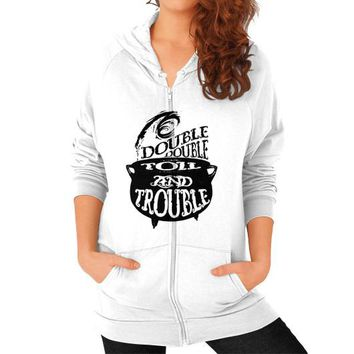 DOUBLE AND TROUBLE Zip Hoodie (on woman)