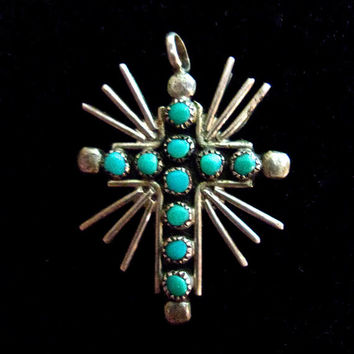 Zuni Petit Point Turquoise Small Cross Pendant, Sterling Silver, Vintage