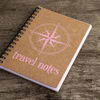 Travel notes, travel notebook, kraft paper notebook, pocket notebook, travel blank book, travel accessories, adventure book, compass pink