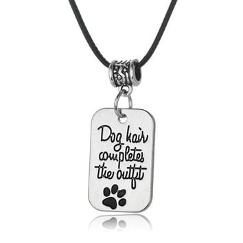 Black Leather Chain Paws Necklace Love Heart Beads Dog Pet Charm Choker Pendant Necklace Best Friends Gift Sister Friendship