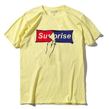 Surprise - Red/Blue Pealing Off Sticker - Unisex T-shirt