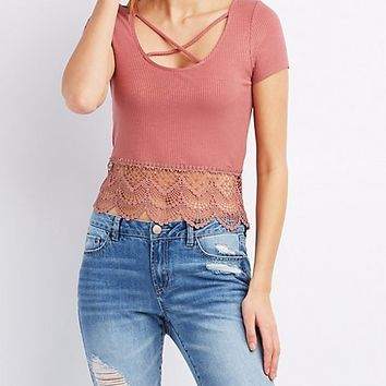 Ribbed Crochet-Trim Caged Tee