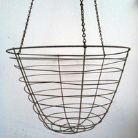 Extra Large Hanging Planter ~  Vintage Wire Rustic Huge Deep Basket Old Farmhouse Shabby Cottage Chic
