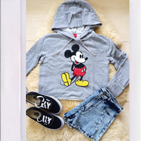 Mickey Crop Sweater- Grey