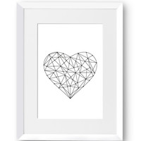 Heart, Love, Crystal, Polygon, Line art, Swedish, Home Decor, Modern art, Scandinavian Print, Printable art, digital Print