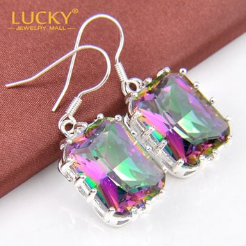 2014 New Arrival Best Gift Rainbow Fire Mystic Topaz Crystal High Quality Earring For Women E0001 Free Shipping
