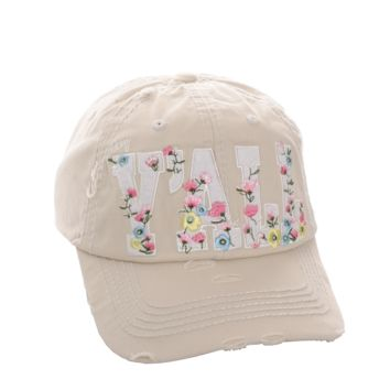 Ivory Hey Y'all Floral Distressed Vintage Cap