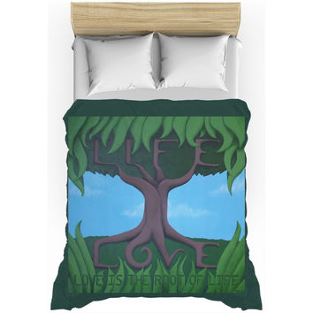 Love is the Root of Life - Duvet Cover of Acrylic Paint Fine Art