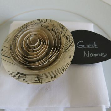 6 Sheet Music Ranunculus (Buttercup) Place Cards with Black Chalkboard Leaf, Modern Wedding