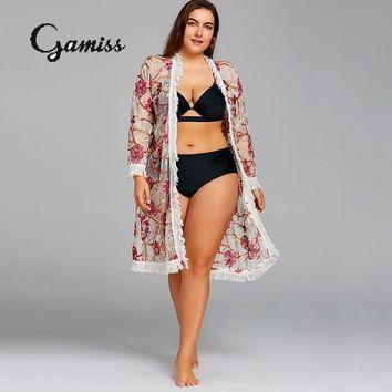 Gamiss 2018 New Plus Size Embroidery Mesh Fringed Bikini Pareo Beach Cover Up Floral Women Robe De Plage Bathing Suit Cover Ups